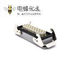防水工业连接器重载32芯不带针公头公母对接PG21铁扣开孔安装H24B外壳
