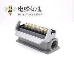 矩形连接器24芯塑料铁扣公母对接H24B外壳表面安装顶出口PG21重载连接器