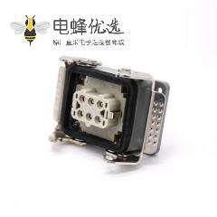 防水工业连接器H6T开孔安装公母对接螺纹PG21高结构斜出口6芯镀银重载连接器