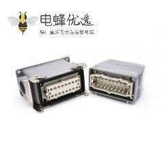 公母对接重载连接器16芯H16T外壳PG29高结构顶出口加高型表面安装铁扣