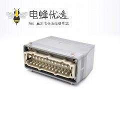 24芯重载连接器高结构斜出口开孔安装公母对接H24T外壳M40铁扣