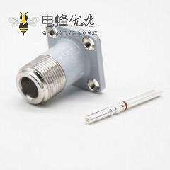 N母头直式面板安装空心针四孔法兰同轴射频连接器