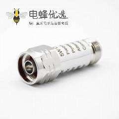 N型衰减器公母对接直式射频同轴连接器DC-3GHz30W避雷器10dB