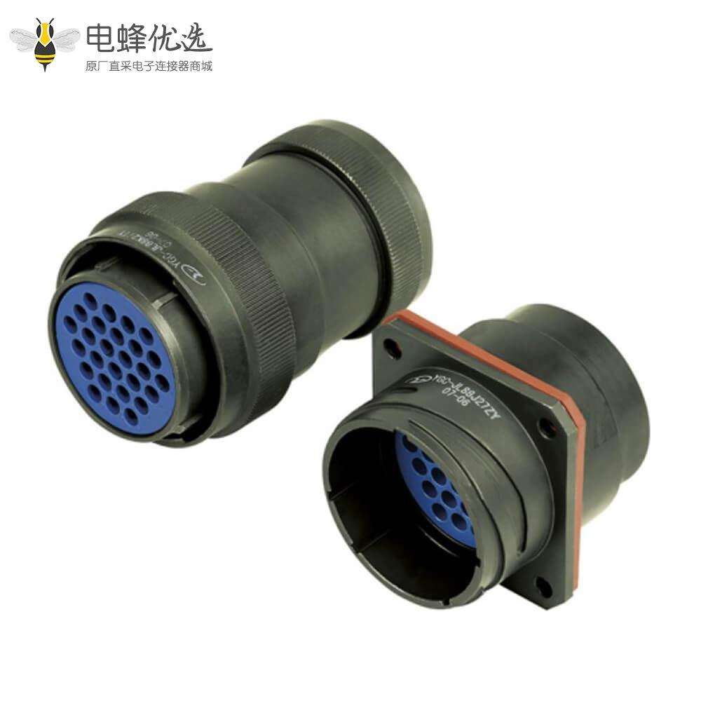 牵引连接器27芯88壳卡口连接直式压接插头插座公母对接连接器