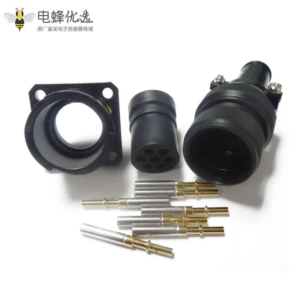JL插座母头7芯四孔法兰美标焊接牵引连接器面板安装