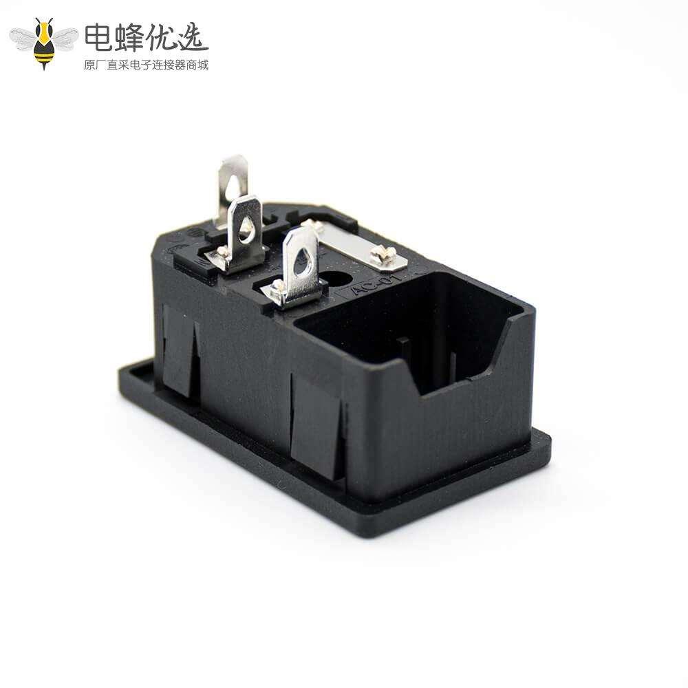 带保险电源插座AC-01A插孔直式三芯公头AC电源连接器