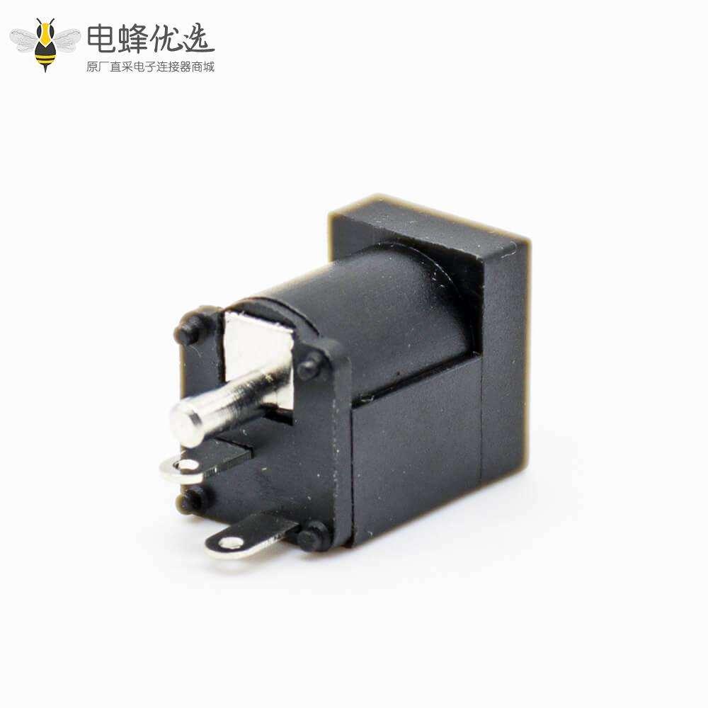 电源连接器DC母插座贴板黑色贴片焊接塑料直式不带屏蔽