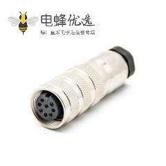 M16防水连接器8芯母头直式焊线连接器