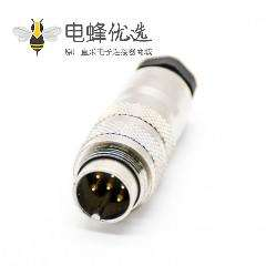 M16插头6芯公头直式接线焊接带屏蔽M16连接器