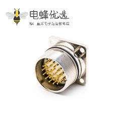 M23连接器插座26针公头直式面板安装四孔法兰插座