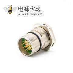 12芯插座M23 12芯针公插座面板安装前锁板带屏蔽直式