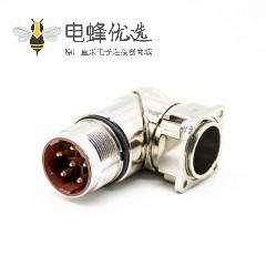 M23法兰弯插座6芯公头接线焊线带屏蔽