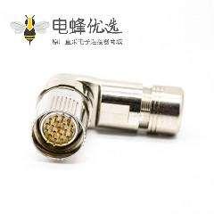 M23弯插头19芯针公头接线焊线带屏蔽