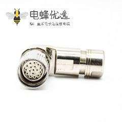 M型连接器M23 17芯弯插头母头接线带屏蔽