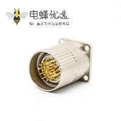 M23连接器19芯公头直式插座面板安装四孔法兰带屏蔽