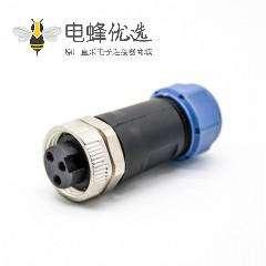 7/8连接器3芯母头接线焊线直式组装不带屏蔽