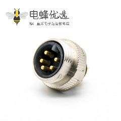 7/8连接器注塑5芯公头接线焊线直式带屏蔽