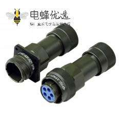 5芯圆形电连接器对接式压接JL系列插头插座4孔法兰卡口连接