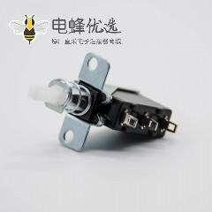 电源按钮开关2孔3脚弯插铜单刀单掷250V-5A外弹簧SW-3-3开关中心孔距20mm