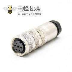 M16圆形连接器6芯母头直式焊线连接器