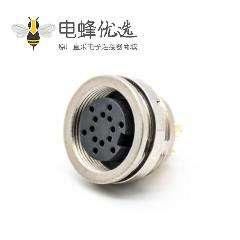 插座母头14芯M16连接器直式接面板后锁板带屏蔽