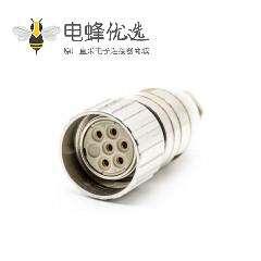 M23伺服连接器6芯孔母插头直式焊线带屏蔽