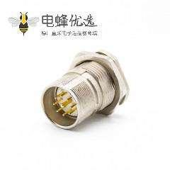 9针插座M23公头直式面板安装前锁板带屏蔽