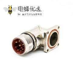 插座公头M23弯插座 8针公头面板安装四孔法兰带屏蔽