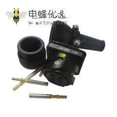 铁路专用连接器JL美标卡扣连接4芯面板安装180°母插座焊接牵引连接器