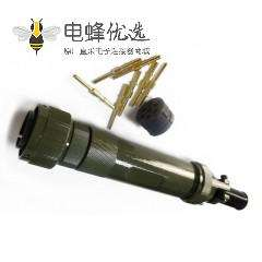 轨道交通电连接器JL7芯公插头卡扣连接180°焊接接线牵引连接器