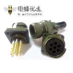 jl系列电连接器母插座7芯面板安装牵引连接器焊接直式卡扣连接