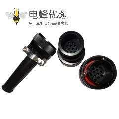 卡口圆形连接器JL公插头14芯焊接卡扣连接直式牵引连接器接线美标
