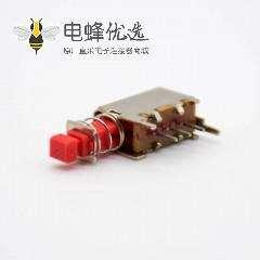 90度按钮开关弯插单刀刀掷红色PS-12E05外弹簧开关贴板安装30VAC-0.5A