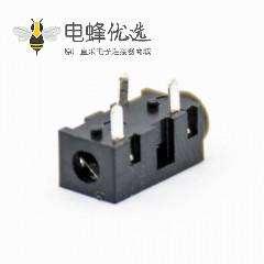 dc插座接口电源连接器不带屏蔽塑料黑色母插座插孔贴片焊接弯式