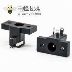 3脚dc插座公头面板安装两孔法兰插孔弯式不带屏蔽塑料电源连接