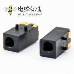 电源连接器DC母插座,贴板贴片焊接塑料弯式不带屏蔽