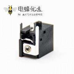 直流电源座弯式DC电源连接器插孔公插座不带屏蔽塑料黑色