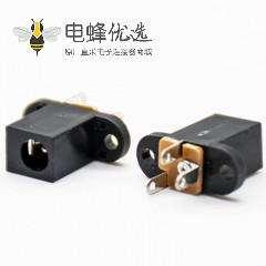电源插座公插座DC面板安装两孔法兰插孔直式不带屏蔽塑料黑色