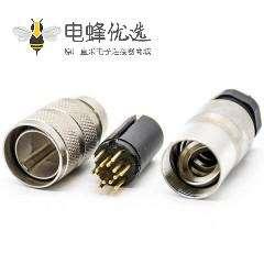 M16连接器14芯公头直式焊线连接器