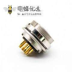 8芯M16连接器母插座接面板前锁板直式焊线带屏蔽