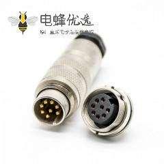 对接插头M16连接器8芯公插头母插座直式焊线前锁板带屏蔽