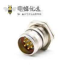 工业插座M23 6芯针公插座直式面板安装前锁板带屏蔽接线焊线