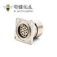 工业连接器插座M23 19芯针母插座直式面板安装四孔法兰带屏蔽
