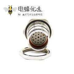 19芯插座M23 19芯孔母插座直式面板安装前锁板带屏蔽接线焊线
