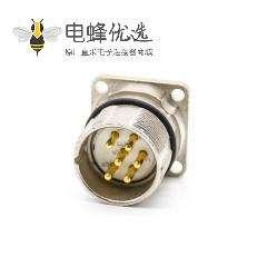 法兰插座M23 6芯针公插座面板安装四孔法兰直式带屏蔽