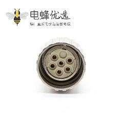 M23 6芯孔母插头直式焊线带屏蔽