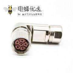 安费诺M23连接器弯插头6芯孔母头接线焊线带屏蔽