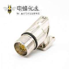 M23弯插座9芯针公头面板安装四孔法兰带屏蔽