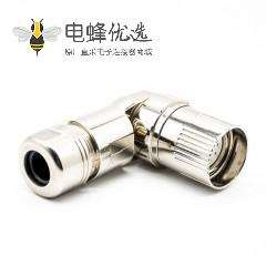 M23 9芯连接器弯插头9芯孔母头接线焊线带屏蔽