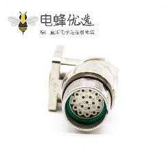 M23连接器插座17芯弯插座母头面板安装四孔法兰带屏蔽